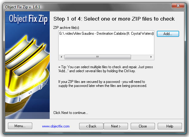 Object Fix Zip - Freeware for repairing damaged ZIP archives with