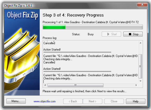 Object Fix Zip - Freeware for repairing damaged ZIP archives